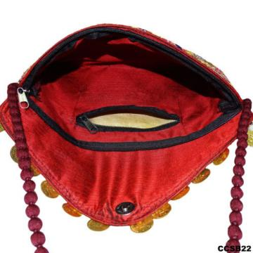 BEACH BAGS HANDMADE INDIAN PURSE EMBROIDERED MAROON CLUTCH WOMEN WEAR BAG CCSB22