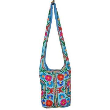 SkyBlue Suzani Embroidery Tote Bag Womens Cross body Shopping Beach Jhola AQ16