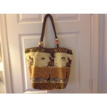 Large Safari Sun N Sand Beach Bag Tote Canvas