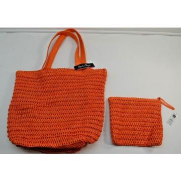 Charlie Page Orange Gold Glitter Weave Beach Tote Shopper Bag Pouch Set NEW