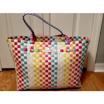 KATE SPADE NEW YORK Extra large Tote Shopper Beach Shoulder Bag Multicolor NEW