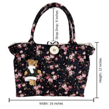 New Women Cotton Shoulder Shopper Bag Summer Floral Print  Purse Beach Tote Bags