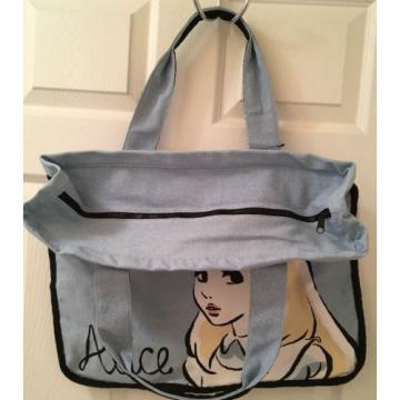 NWT DISNEY STORE ALICE IN WONDERLAND LARGE ZIPPER TOTE CARRY ON PURSE BEACH BAG