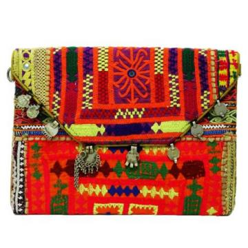 VINTAGE BAG INDIAN EMBROIDERED HANDBAG WEDDING CLUTCH MULTICOLOR BEACH PURSE