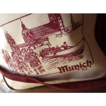 Vtg 80s MUNICH GERMANY PRINT Cotton Canvas Shoulder Weekend Gym Beach Tote Bag