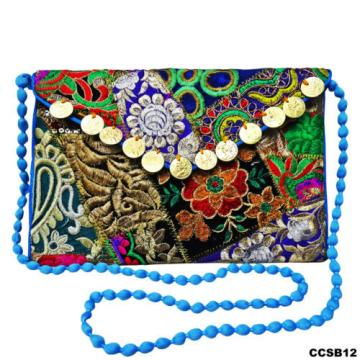 NEW WOMEN HAND BAG BLUE EMBROIDERED PURSE COTTON BAG INDIAN BEACH CLUTCH CCSB12