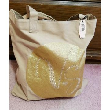 Victoria's Secret Gold Glitter Studded Canvas Tote Beach Bag (Limited Edition)