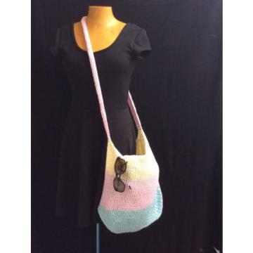 Handmade TOTE bag crochet beach shopping market handbag cotton NEW Pastel