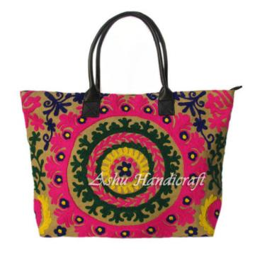 Indian Cotton Tote Suzani Embroidery Handbag Woman Shoulder & Beach Boho Bag 048