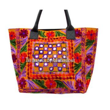 Indian Cotton Suzani Embroidery Handbag Woman Tote Shoulder Bag Beach Boho Bag10