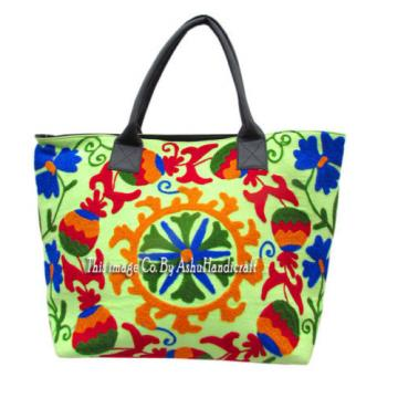 Indian Cotton Suzani Embroidery Handbag Woman Tote Shoulder Bag Beach Boho Bag O