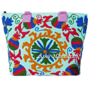 Indian Cotton Suzani Embroidery Handbag Woman Tote Shoulder Bag Beach Boho Bag .