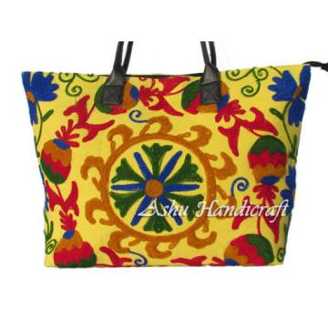Indian Cotton Tote Suzani Embroidery Handbag Woman Shoulder & Beach Boho Bag s33