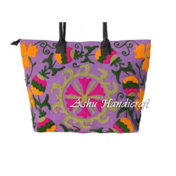 Indian Cotton Tote Suzani Embroidery Handbag Woman Shoulder & Beach Boho Bag s01