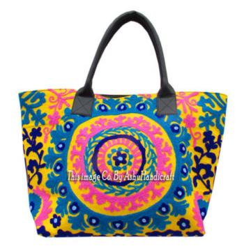 Indian Cotton Suzani Embroidery Handbag Woman Tote Shoulder Bag Beach Boho Bag 5