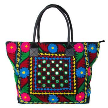 Indian Cotton Suzani Embroidery Handbag Woman Tote Shoulder Bag Beach Boho Bag l