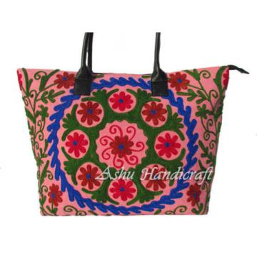 Indian Cotton Tote Suzani Embroidery Handbag Woman Shoulder & Beach Boho Bag s35