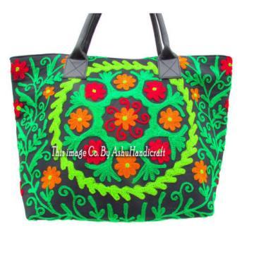 Indian Cotton Suzani Embroidery Handbag Woman Tote Shoulder Beach Boho Bag s28