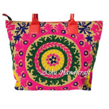 Indian Cotton Tote Suzani Embroidery Handbag Woman Shoulder Beach Boho Bag s37
