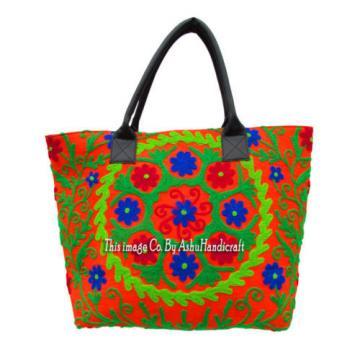 Indian Cotton Suzani Embroidery Handbag Woman Tote Shoulder Beach Boho Bag s08