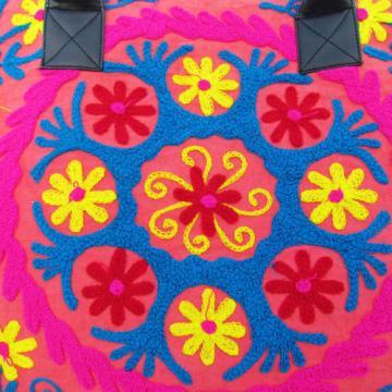 Indian Cotton Suzani Embroidery Handbag Woman Tote Shoulder Beach Boho Bag s29