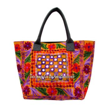 Indian Cotton Suzani Embroidery Handbag Woman Tote Shoulder Bag Beach Boho Bag 2