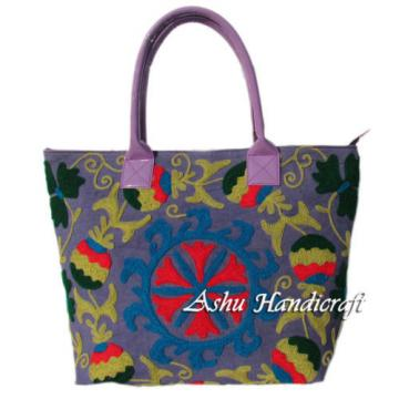 Indian Cotton Tote Suzani Embroidery Handbag Woman Shoulder Beach Boho Bag s002
