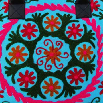 Indian Cotton Suzani Embroidery Handbag Woman Tote Shoulder Beach Boho Bag s31