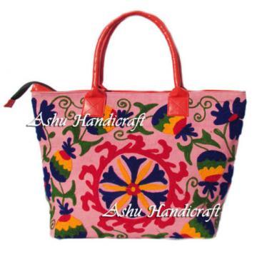 Indian Cotton Suzani Embroidery Handbag Woman Tote Shoulder Beach Boho Bag s22