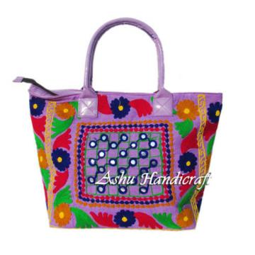 Indian Cotton Suzani Embroidery Handbag Woman Tote Shoulder Beach Boho Bag s06