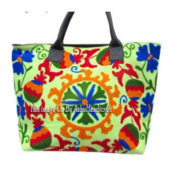Indian Cotton Suzani Embroidery Handbag Woman Tote Shoulder Beach Boho Bag s05