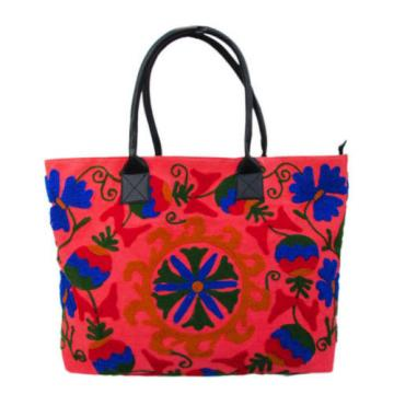 Indian Cotton Suzani Embroidery Handbag Woman Tote Shoulder Bag Beach Boho Bag j