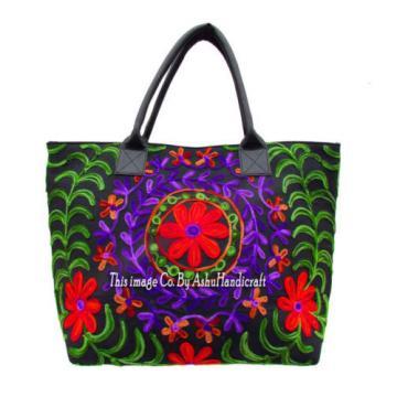 Indian Cotton Suzani Embroidery Handbag Woman Tote Shoulder Bag Beach Boho Bag 8