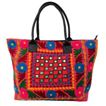Indian Cotton Suzani Embroidery Handbag Woman Tote Shoulder Bag Beach Boho Bag k
