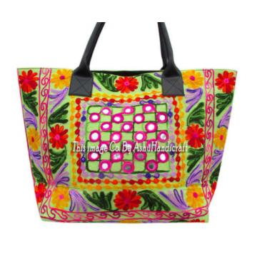 Indian Cotton Suzani Embroidery Handbag Woman Tote Shoulder Bag Beach Boho Bag11