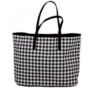 Gingham Checkered Pattern Black & White Tote Handbag Beach Bag NEW NWT