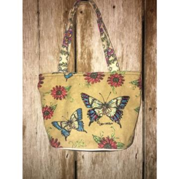 Kate McRostie Butterfly Floral Canvas Beach Tote Bag with Sequin Purse Handbag