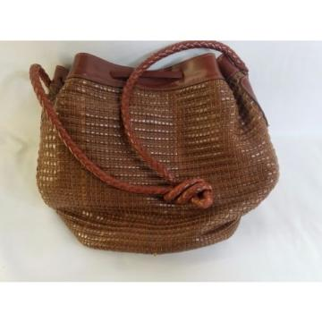Dillards made in Italy vtg woven straw beach bag faux tortoise handles