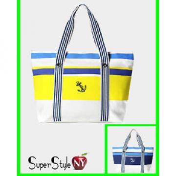 Striped Navy Nautical Anchor Ocean Sea Fashion Summer Beach Handbag Tote Bag