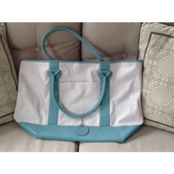 Leather and Coated Canvas Beach Bag / Tote - Turquoise and Cream - 22 in wide