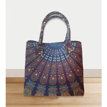 Ethnic Boho blue orange shopping purse cotton Picnic bag gypsy beach bag