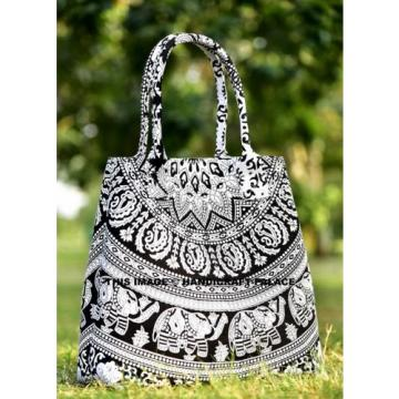 Indian Elephant Mandala Shopping Purse Cotton Beach Bag Large Tote Messenger Bag