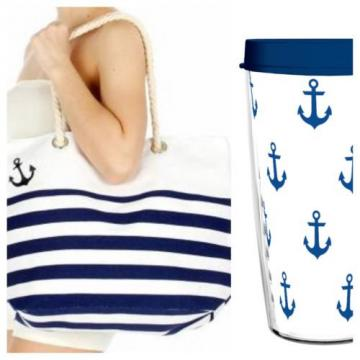 Anchor Nautical Tote Bag Tumbler Set 16 oz. BPA Free Beach Boating - NEW