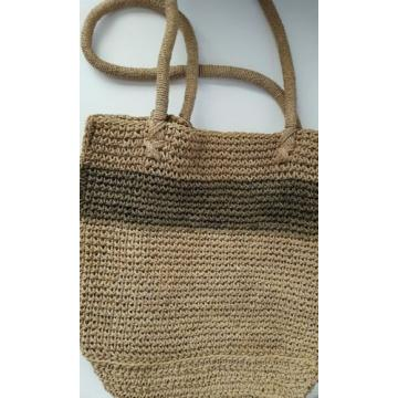 J Crew Straw Stripped Tote Bag Natural & Green Straw Summer Carryall Beach