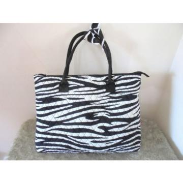 N. Gil Extra Large Tote Shopper Beach Travel Bag Black  Animal Print Quilted