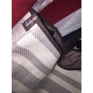 Thirty- One Brown Tan And Gray Beach Bag With Shoulder Strap