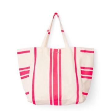 VICTORIA'S SECRET HOT PINK BEIGE STRIPE BEACH BAG TOTE CANVAS PURSE SWIM FUN SUN