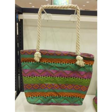 DESIGNER INSPIRED TRIBAL ABSTRACT PATTERN SUMMER BEACH TOTE BAG ROPE HANDLE