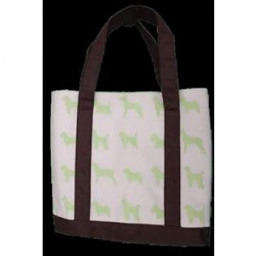 Canvas Bag Green Dog Print Beach Tote Shopping Bag
