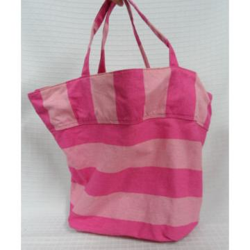 VICTORIA'S Secret PINK Striped FLARED Beach CARRYALL Tote BAG Gold LETTERS Guc